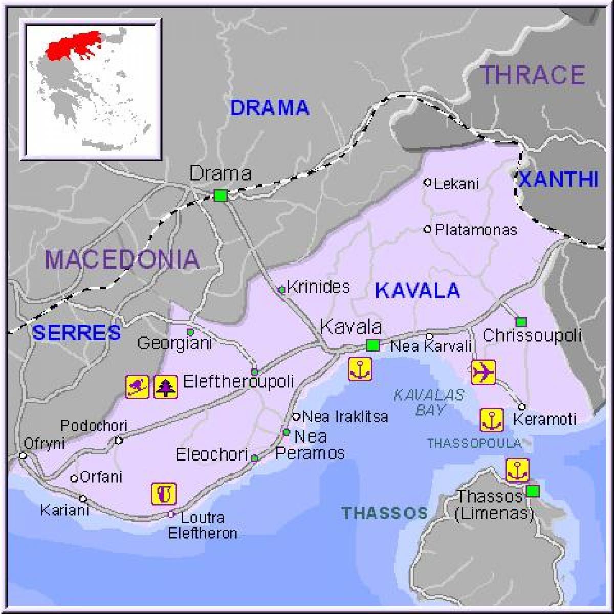 kavala mapa Kavala, Grècia mapa Mapa de Kavala, Grècia (Sud d'Europa   Europa) kavala mapa